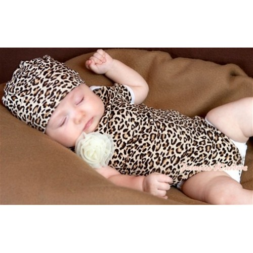 Leopard Print Baby Jumpsuit with Cap Set TH163