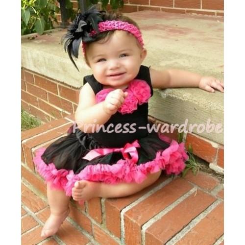 Black Newborn Pettitop & Hot Pink Rosettes with Black Hot Pink Newborn Pettiskirt NG170