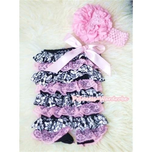 Damask Light Pink Layer Chiffon Romper with Light Pink Bow and Light Pink Headband Set RH59