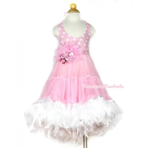 Light Pink White Polka Dots ONE-PIECE Petti Dress with White Posh Feather & Light Pink Feather Crystal Rose Bow With Accessory 2PC Set LP27