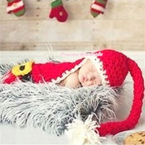 Xmas Santa Claus Photo Prop Crochet Newborn Baby Custome C183