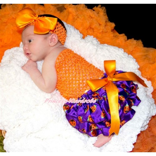 Halloween Orange Big Bow Dark Purple Pumpkin Satin Bloomer ,Orange Crochet Tube Top,Orange Headband Orange Silk Bow 3PC Set CT622