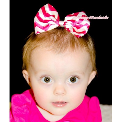 Hot Pink White Wave Satin Bow Hair Clip H719