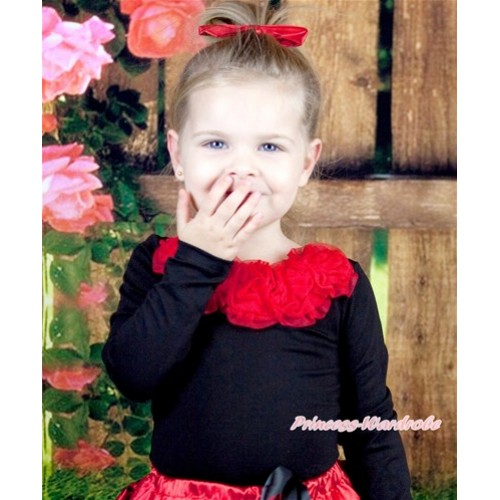Black Long Sleeves Tops with Red Rosettes TB23