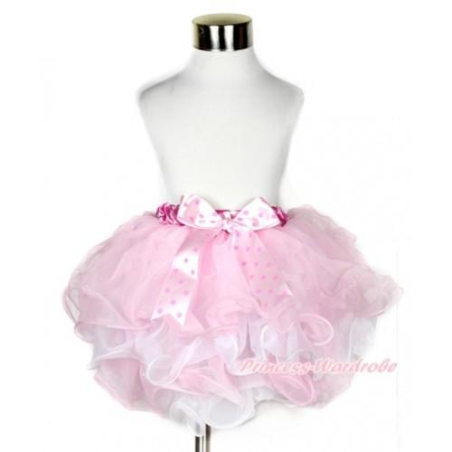 Hot Pink White Polka Dots Waist Light Pink White Flower Petal Full Pettiskirt With Light Hot Pink Dots Bow B210