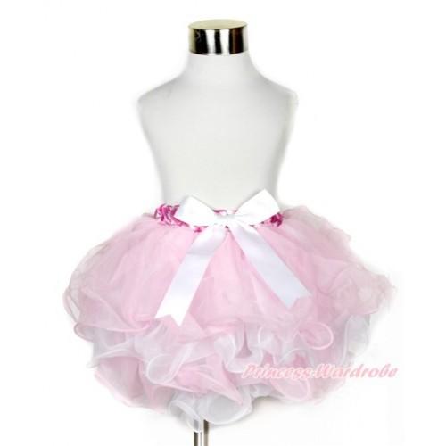 Hot Pink White Polka Dots Waist Light Pink White Flower Petal Full Pettiskirt With White Bow B211