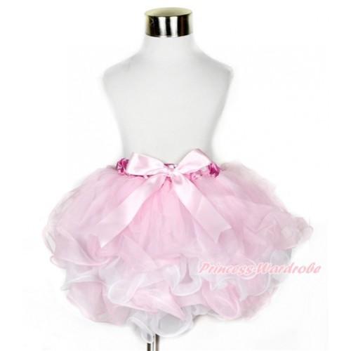Hot Pink White Polka Dots Waist Light Pink White Flower Petal Full Pettiskirt With Light Pink Bow B212