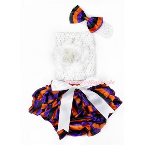 Halloween White Bow Purple Orange Black Striped Satin Bloomer ,White Peony White Crochet Tube Top,White Headband Purple Orange Black Striped Satin Bow 3PC Set CT644