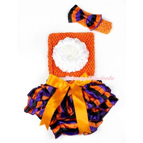 Halloween Orange Bow Purple Orange Black Striped Satin Bloomer ,White Peony Orange Crochet Tube Top,Orange Headband Purple Orange Black Striped Satin Bow 3PC Set CT645