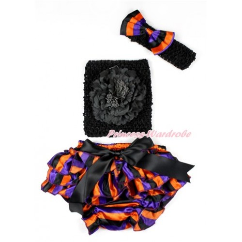 Halloween Black Bow Purple Orange Black Striped Satin Bloomer ,Black Peony Black Crochet Tube Top,Black Headband Purple Orange Black Striped Satin Bow 3PC Set CT646