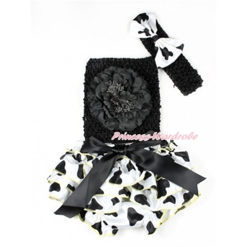 Black Bow Milk Cow Satin Bloomer ,Black Peony Black Crochet Tube Top,Black Headband Milk Cow Satin Bow 3PC Set CT648