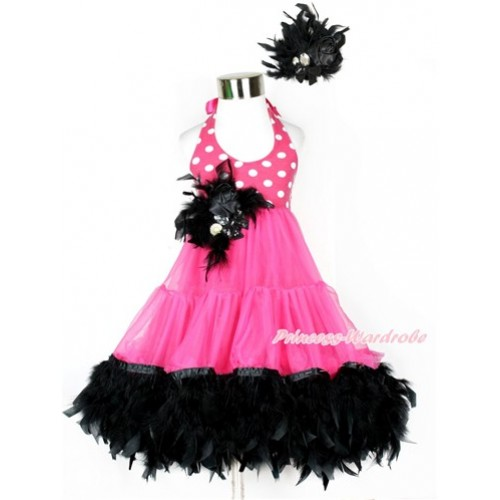 Hot Pink White Polka Dots ONE-PIECE Petti Dress with Black Posh Feather & Black Feather Crystal Rose Bow With Accessory 2PC Set LP28