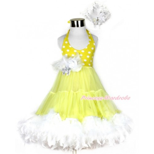 Yellow White Polka Dots ONE-PIECE Petti Dress with White Posh Feather & White Feather Crystal Rose Bow With Accessory 2PC Set LP30