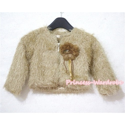 Khaki Hairy Fur with Flower Jacket PD017