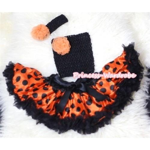 Halloween Orange Rosettes and Black Crochet Tube Top, Black Headband with Orange Rose 3PC Set CT247