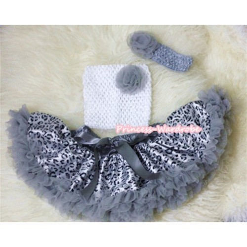 Grey Rosettes and White Crochet Tube Top, Grey Headband with Rose, Grey Leopard Pettiskirt 3PC Set CT248