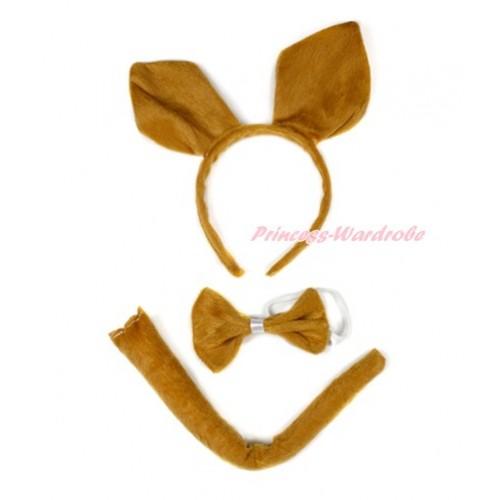 Brown Kangaroo 3 Piece Set in Ear Headband, Tie, Tail PC049