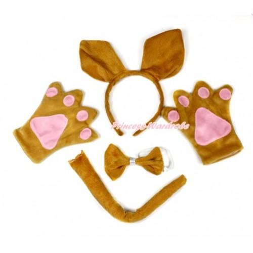 Brown Kangaroo 4 Piece Set in Ear Headband, Tie, Tail , Paw PC052