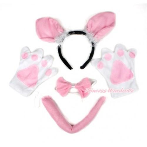 Light Pink Bunny Rabbit 4 Piece Set in Ear Headband, Tie, Tail , Paw PC055