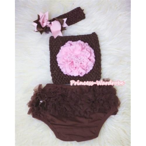 Light Pink Peony and Brown Crochet Tube Top, Brown Headband with Brown Light Pink Bow, Brown Pettiskirt Ruffles Panties Bloomers 3PC Set CT292