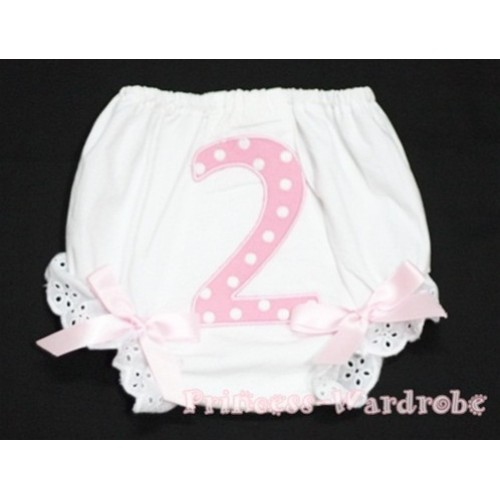 2nd Light Pink Polka Dots Birthday Number Panties Bloomers with Light Pink Bow BC61
