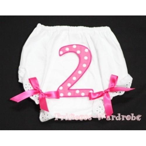 2nd Hot Pink Polka Dots Birthday Number Panties Bloomers Hot Pink Bow BC63