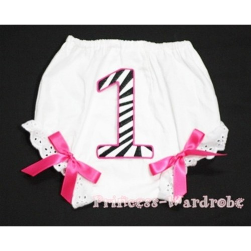 1st Hot Pink Zebra Birthday Number Panties Bloomers with Hot Pink Bow BC68