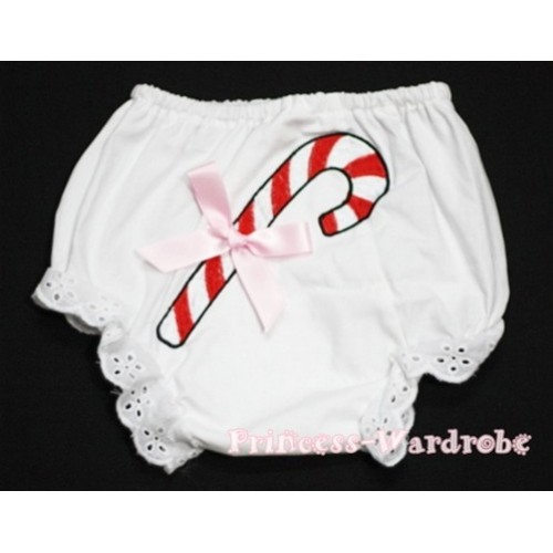 White Bloomers & Christmas Stick Print & Light Pink Bow BC76
