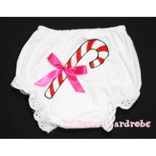 White Bloomers & Christmas Stick Print & Hot Pink Bow BC77