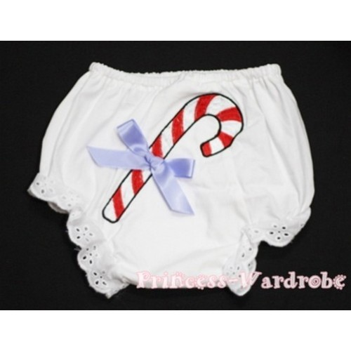 White Bloomers & Christmas Stick Print & Lavender Bow BC78