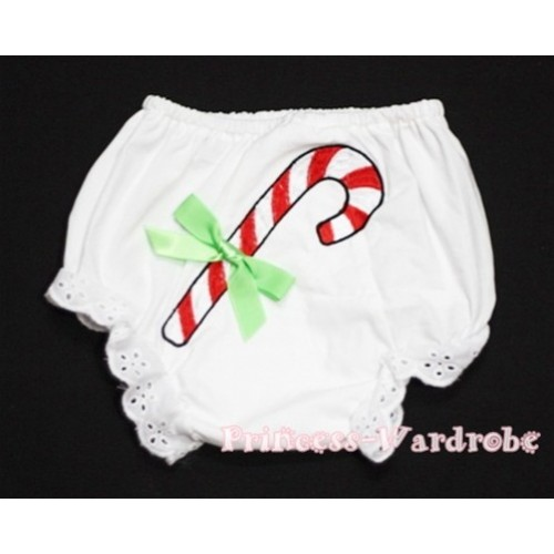 White Bloomers & Christmas Stick Print & Lime Green Bow BC79