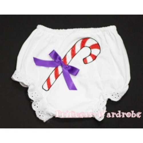 White Bloomers & Christmas Stick & Purple Bow BC81
