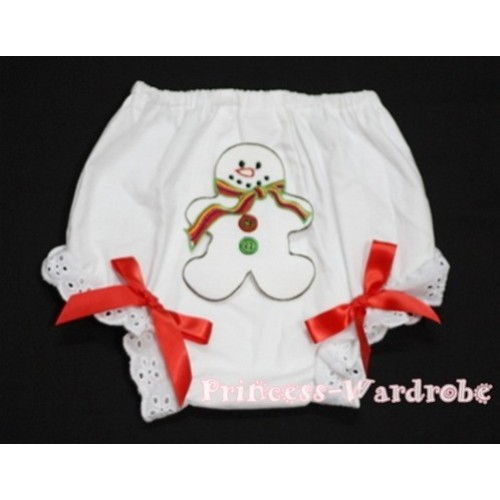 Christmas Gingerbread Snowman Panties Bloomers with Red Bow BC90