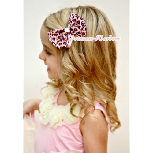 Light Pink Leopard Ribbon Bow Hair Clip H88