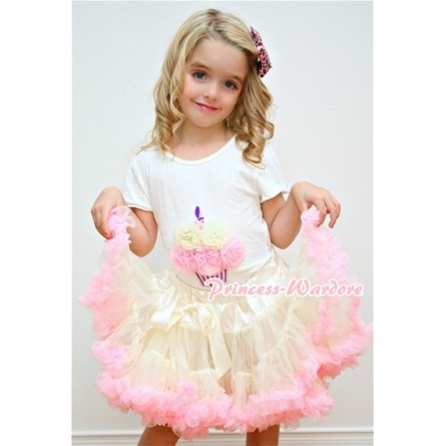 White Birthday Cake Short Sleeves with Cream White Light Pink Rosettes & Cream White Light Pink Pettiskirt T55
