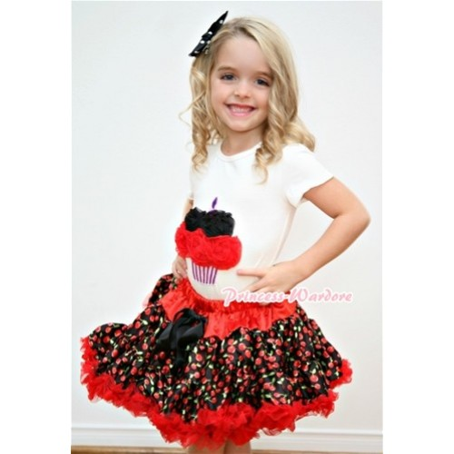 White Birthday Cake Short Sleeves with Black Hot Red Rosettes & Red Black Cherry Pettiskirt T56