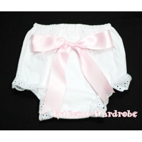 White Bloomers & Light Pink Big Bow BC91