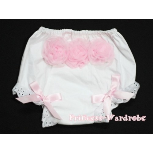 White Panties Bloomers with 3 Light Pink Roses at the top BC94