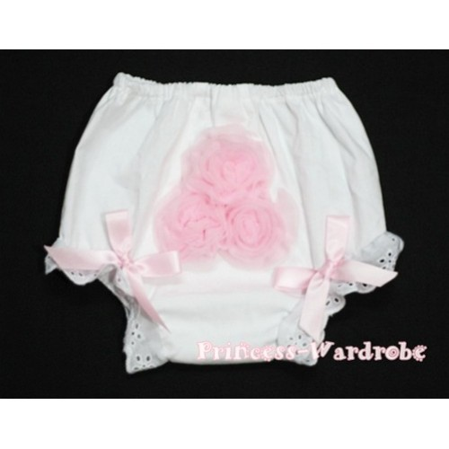 White Panties Bloomers with 3 Light Pink Roses in the middle BC96