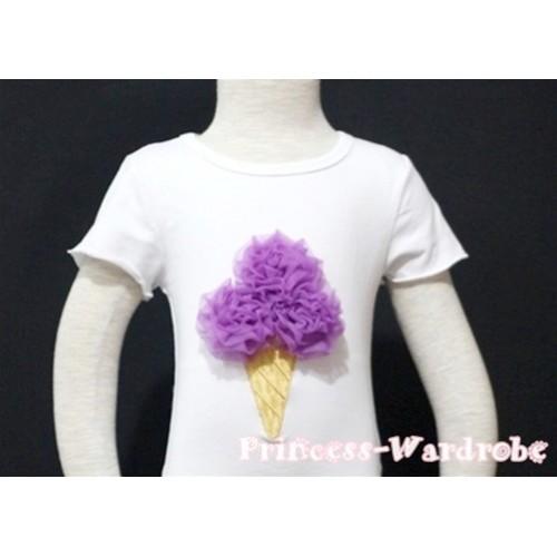 Dark Purple Ice Cream White Short Sleeves Top T76