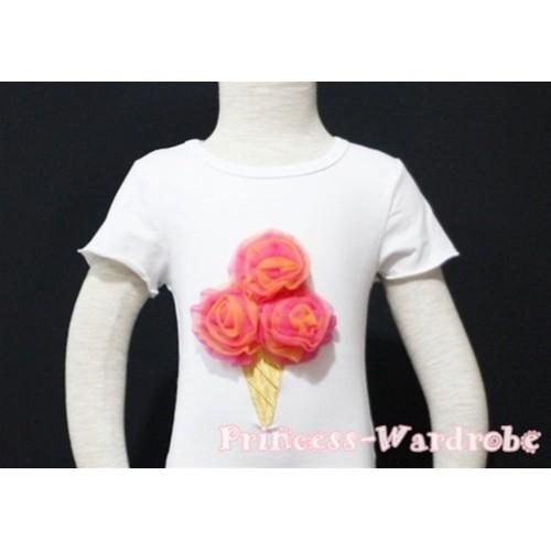 Hot Pink Orange Mixed Ice Cream White Short Sleeves Top T87