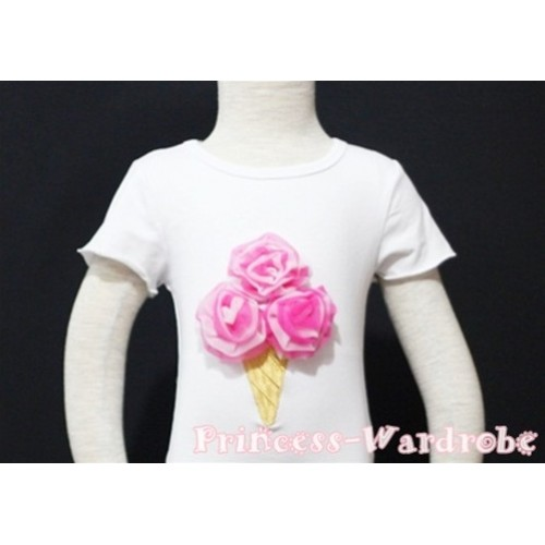 Hot Pink White Mixed Ice Cream White Short Sleeves Top T88