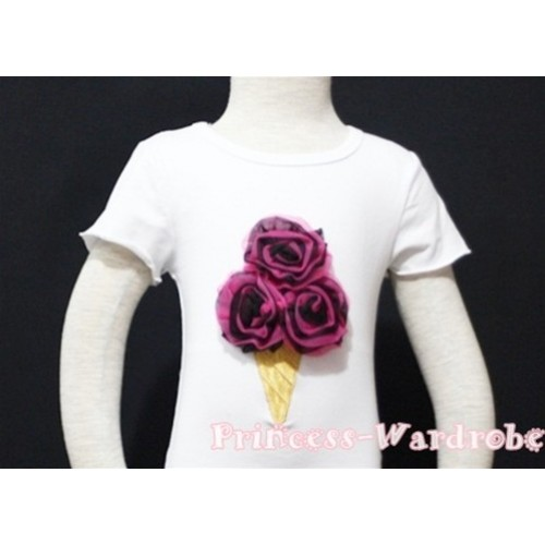 Black Hot Pink Mixed Ice Cream White Short Sleeves Top T90