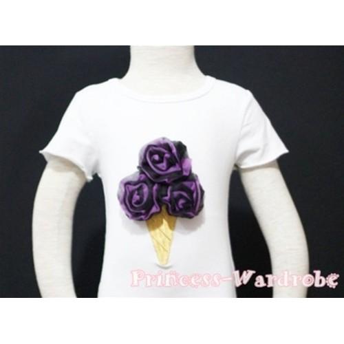 Black Dark Purple Mixed Ice Cream White Short Sleeves Top T91