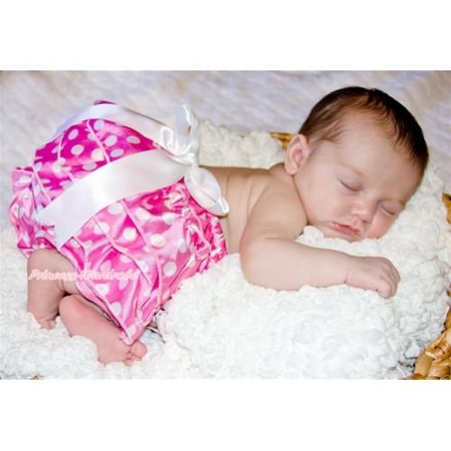 Hot Pink White Polka Dot Layer Panties Bloomers with Cute Big Bow BC112