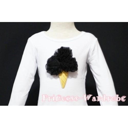 Black Ice Cream White Long Sleeves Top T125