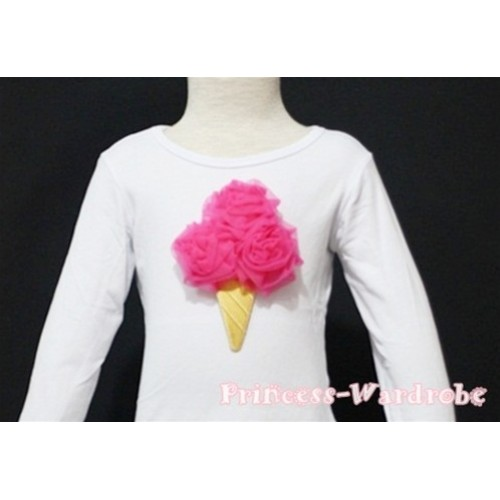 Hot Pink Ice Cream White Long Sleeves Top T129