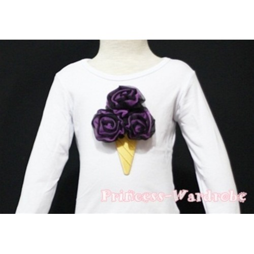 Black Dark Purple Mixed Ice Cream White Long Sleeves Top T138