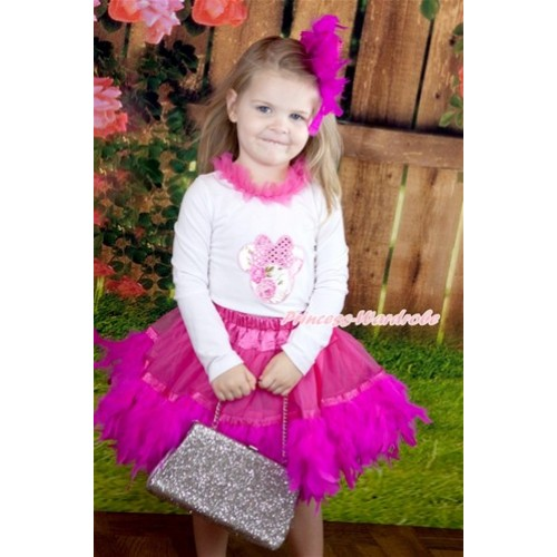 Hot Pink Posh Feather Pettiskirt with Rose Fusion Minnie Print White Long Sleeve Top with Hot Pink Chiffon Lacing MW343