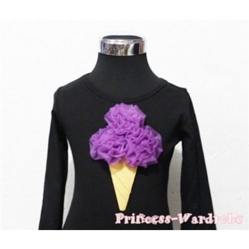 Dark Purple Ice Cream Black Long Sleeves Top T189